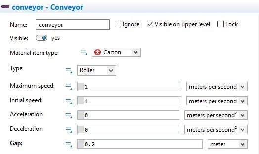 Conveyor element properties