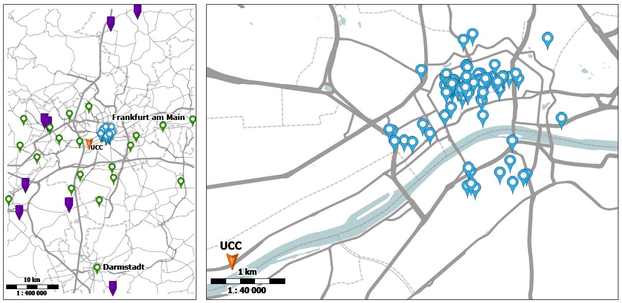 Logistics simulation model: Maps of the Frankfurt Rhine-Main area and Frankfurt city center with the UCC location